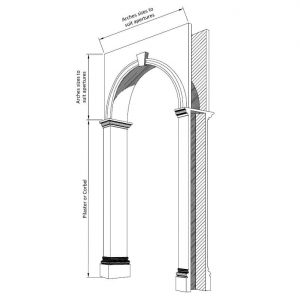 A technical drawing of a plaster arch