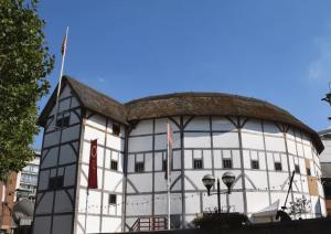 Photograph of the external facade of the Shakespeare Globe
