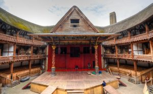 Photograph of the inside of the Shakespeare Globe Theatre