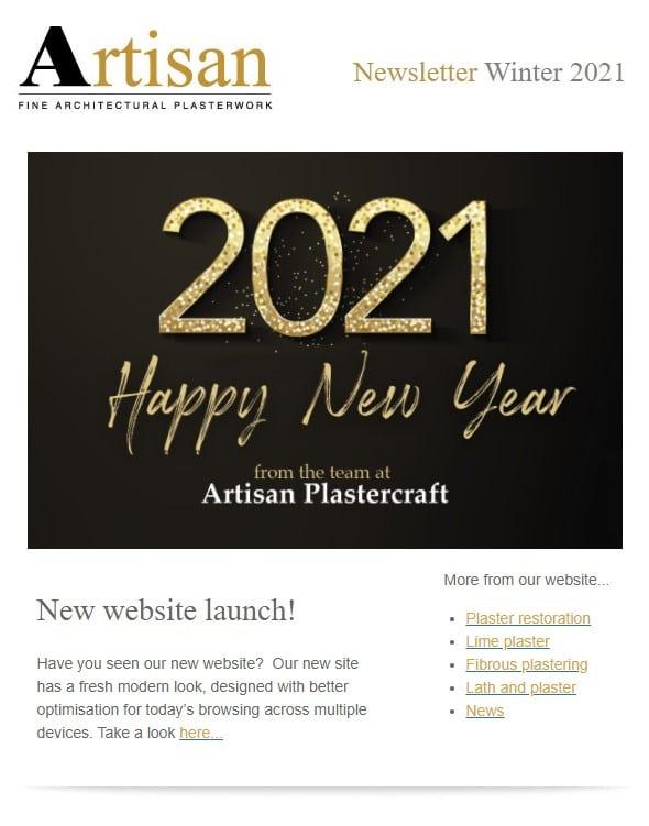 artisan plastercraft newsletter winter 2021