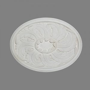 image of large oval ceiling rose with acanthus leaves